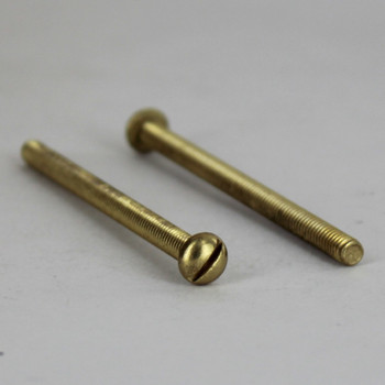 2-1/2in Long X 8/32 Threaded Solid Brass Slotted Round Head Screw