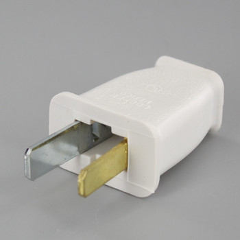 White - Polarized Thermoplastic Non-Grounding Spring Action Plug with Screw Terminal Connections