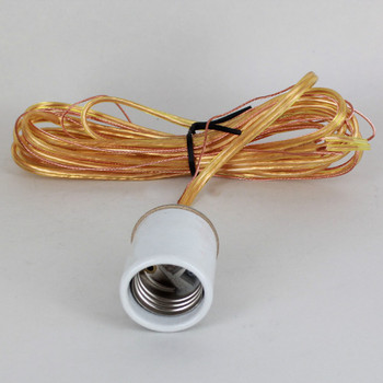 E-26 Porcelain Socket with 1/8ips. Cap and 10ft. Gold and Ground Wire Leads