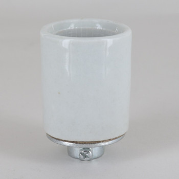 1/4ips Porcelain Grounded E-26 Base Ground Terminal Lamp Socket with Screw Terminal Wire Connections