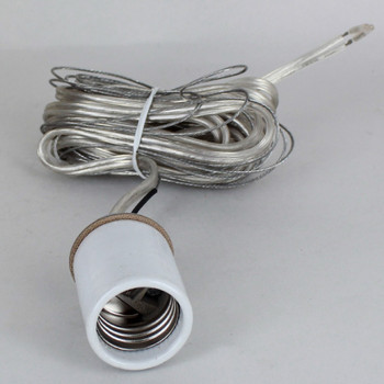 E-26 Porcelain Socket with 1/8ips. Cap and 10ft. Silver and Ground Wire Leads