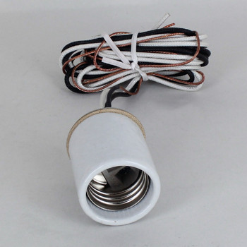 E-26 Porcelain Socket Pre-Wired with 72in. Hi-Temp Leads and Ground Wire