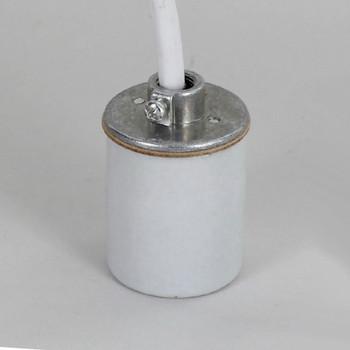 E-26 Porcelain Pendant Socket with 1/8ips. Cap and 6ft. White 18/3 SVT Leads