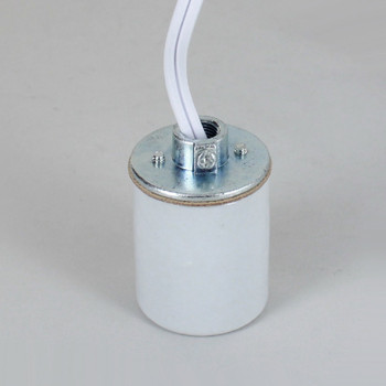 E-26 Porcelain Socket with 1/8ips. Cap and 10ft. White Wire Leads