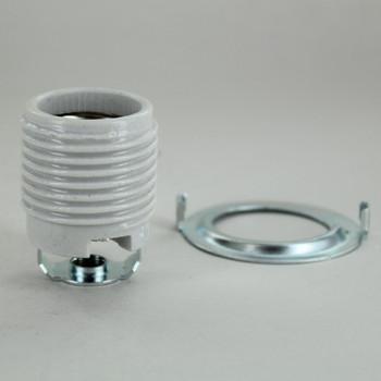 Glazed Porcelain Threaded Skirt E-26 Base Lamp Socket with 1/8ips Threaded Hickey.