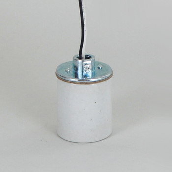 E-26 Porcelain Socket with 1/8ips. Cap and 24in. 200 Degree Teflon 18/1 Wire Leads