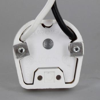 Leviton - 395 Medium Base Bi-Pin Standard Fluorescent Lampholder with 9in. Leads - White