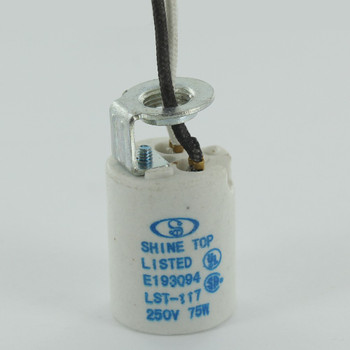 E-17 Base Porcelain Socket with 1/8ips. Hickey and 24in. Wire Leads