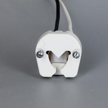 Leviton - White 395 Medium Base Bi-Pin Standard Fluorescent Lampholder with 9in. Leads