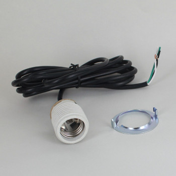 Porcelain Base E-26 Threaded Skirt Socket With Black 8ft 18/3 SVT Wire Leads