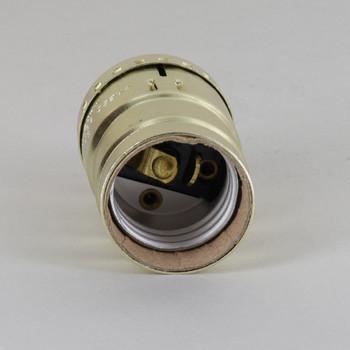 3 Terminal Keyless Lamp Socket with 1/8ips. Cap - Gilt Brass Plated Finish