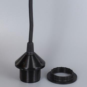 12ft Long Black Nylon Overbraid Pre-Wired E-26 Base Phenolic Threaded Pendant Style Socket With 1/8ips. Cap - Black