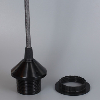 Black E-26 Phenolic Threaded Socket 1/8ips. Cap And Ring. Pre-wired 6ft Gray Nylon Overbraid