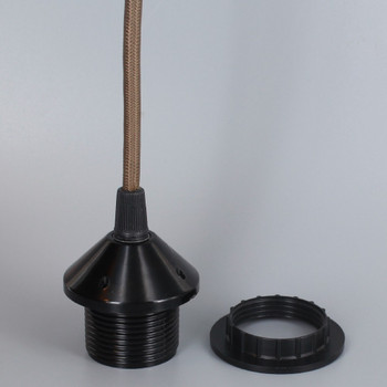 BLACK E-26 PHENOLIC THREADED SOCKET WITH 1/8IPS. CAP AND RING. PRE-WIRED 6FT Brown NYLON OVERBRAID