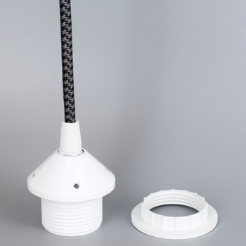 White E-26 Phenolic Threaded Socket 1/8ips. Cap And Ring. Pre-wired 6ft Black/Gray Houndstooth