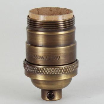 Antique Brass Finish Cast Uno Threaded E-26 Short Keyless Socket with 1/8ips. Cap and Set Screw