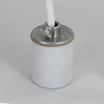E-26 Porcelain Pendant Lamp Socket with 1/8ips. Hickey and Pre-Wired 8ft. White 18/3 SVT Wire Leads