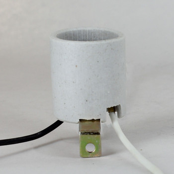 E-26 Porcelain 90 Degree Mount Bracket Lamp Socket Pre-Wired with 9in Long 18 Gauge Wire Leads