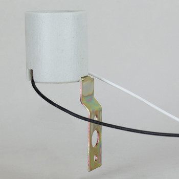 E-26 Base Porcelain Lamp Socket with 7J13 Metal Mouning Bracket. Prewired with 18/1 Wire Leads