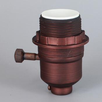 Oil Rubbed Bronze Finish Aluminum Threaded Skirt Single Turn On-Off Lamp Socket 1/8ips Threaded Cap