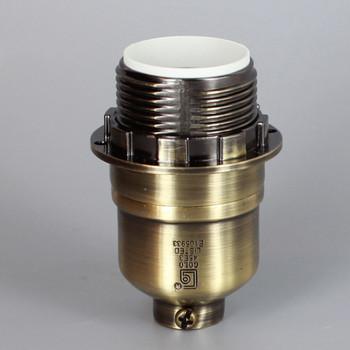 Antique Brass Finish Aluminum Threaded Skirt Keyless Lamp Socket with 1/8ips Threaded Cap