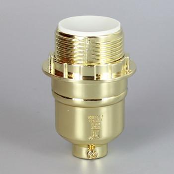 Brass Plated Finish Aluminum Threaded Skirt Keyless Lamp Socket with 1/8ips Threaded Cap