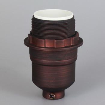 Oil Rubbed Bronze Finish Aluminum Threaded Skirt Keyless Lamp Socket with 1/8ips Threaded Cap