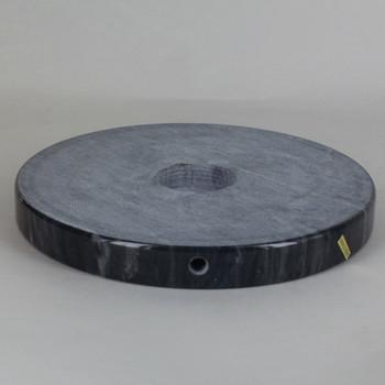 7in Diameter Round Black Marble Lamp Base