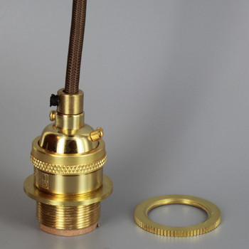 Polished Brass Metal E-26 Base Keyless Lamp Socket Pre-Wired with 6Ft Long Brown Nylon Overbraid