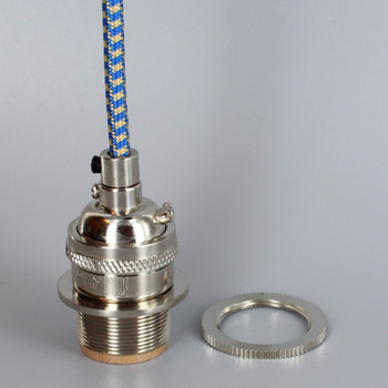 Polished Nickel Metal Base Keyless Lamp Socket Pre-Wired with 6Ft Long Blue/Gold Nylon Overbraid