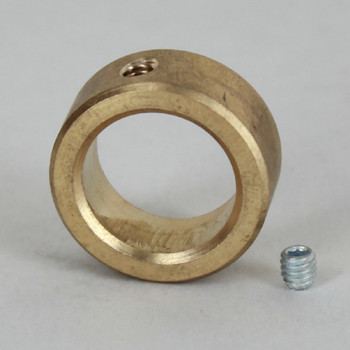 5/8in Straight Slip Ring With Set Screw - Slips 3/8ips Pipe - Unfinished Brass