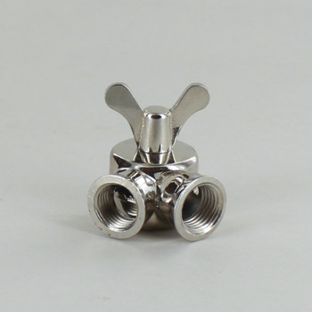 1/4IPS Female X 1/4IPS Female Threaded Nickel Plated Finish Cast Butterfly Key Swivel with Teeth