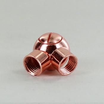 1/4IPS Female X 1/4IPS Female Thread Polished Copper Finish Friction Ball Swivel with Locking Screw