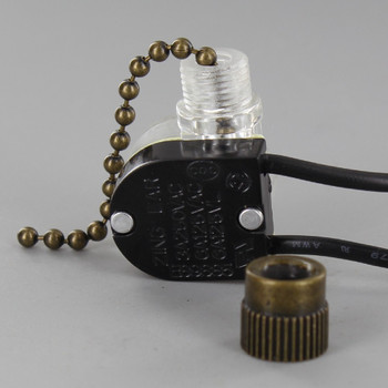 On-Off Pullchain Canopy Switch with #6 Brass Bead Chain - Antique Brass Finish