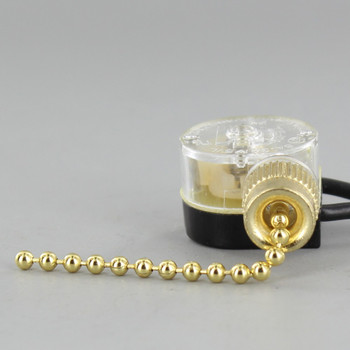 On-Off Pullchain Canopy Switch with #6 Brass Bead Chain - Brass Finish