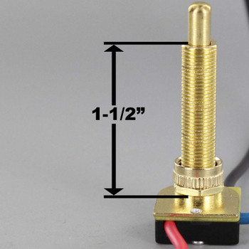 1-1/2in Shank Two-circuit Four-position Metal Push Button Switch - Brass Plated