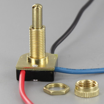 5/8in Shank Two-circuit Four-position Metal Push Button Switch - Brass Plated
