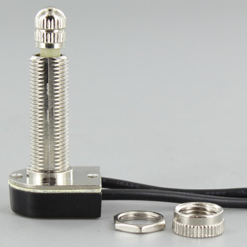 1-1/8in. Shank On-Off Rotary Switch with and 6in. Wire Leads - Nickel Plated
