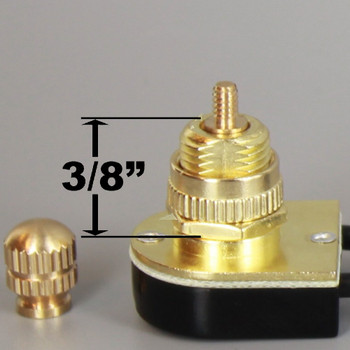 3/8in Shank On/Off Rotary Lamp Switch with Removeable Knob and Wire Leads - Brass Plated