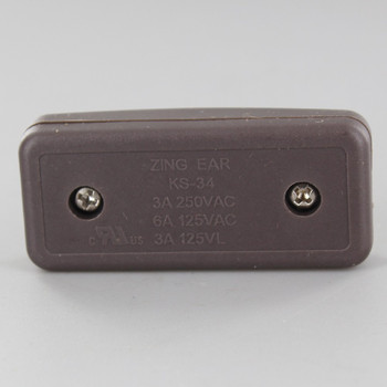 Single Pole, On/off Rocker Line Switch With Crimp On Wire Connection for SPT-1 Wire - Brown