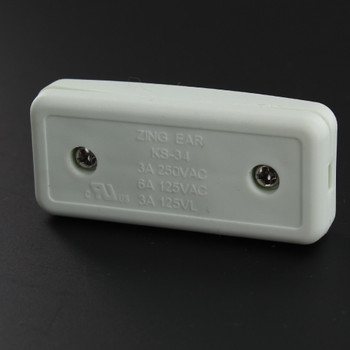 Single Pole, On/off Rocker Line Switch With Crimp On Wire Connection for SPT-1 Wire - White