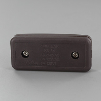Single Pole, On/off Rocker Line Switch With Crimp On Wire Connection for SPT-2 Wire - Brown