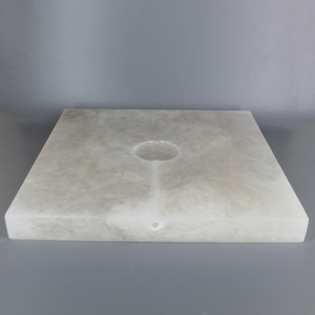 10in. SQUARE ALABASTER LAMP BASE WITH WIRE WAY - 1/8ips SLIP CENTER HOLE