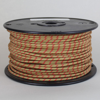 14/1 Single Conductor AWM 90 Degree Gold Rayon Wire with Red Thread Tracer