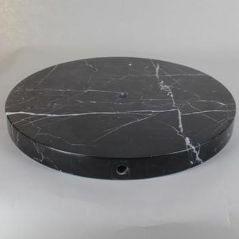 11in Diameter Round Black Marble Lamp Base