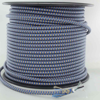 18/2 SVT-B BLUE/GOLD HOUNDS TOOTH PATTERN NYLON FABRIC CLOTH COVERED PENDANT AND TABLE LAMP WIRE