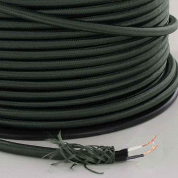 18/2 SVT-B Forest Green Nylon Fabric Cloth Covered Pendant and Table Lamp Wire