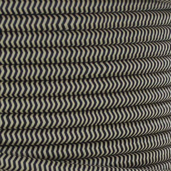 18/2 SVT-B BLACK/BEIGE ZIG-ZAG PATTERN NYLON FABRIC CLOTH COVERED PENDANT AND TABLE LAMP WIRE