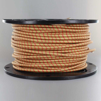 18/2 SVT-B GOLD/RED 2 TIC TRACER PATTERN NYLON FABRIC CLOTH COVERED PENDANT AND LAMP WIRE