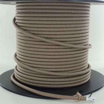 18/2 SVT-B BROWN/BEIGE ZIG-ZAG PATTERN NYLON FABRIC CLOTH COVERED PENDANT AND TABLE LAMP WIRE